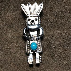 Jewelry - Kachina Turquoise Silver Pendant